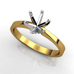 Beauty Exemplified: Six-Prong 14k Yellow Gold Engagement Ring Setting