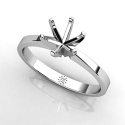 Glimmering Delight: Six-Prong 14k White Gold Engagement Ring Setting