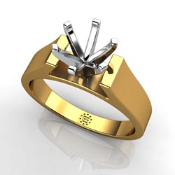 Exquisitely Tasteful: Six-Prong 14k Yellow Gold Engagement Ring Setting