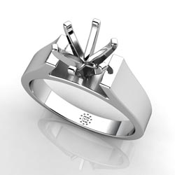 Opulent Charm: Six-Prong 14k White Gold Engagement Ring Setting
