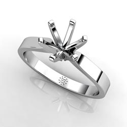 Dainty Creation: Six-Prong 14k White Gold Engagement Ring Setting