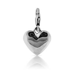18K White Gold Heart Charm Pendant