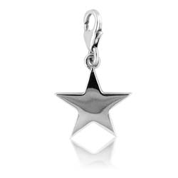 18K White Gold Star Charm Pendant