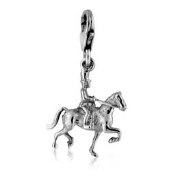 Silver Horse Rider Charm Pendant