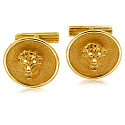 18kt Yellow Gold Lion Head Cuff Links
