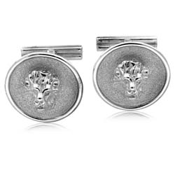 Silver Lion Head Cuff Links
