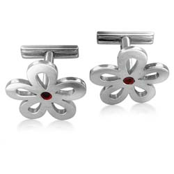 18kt White Gold Clove Leave Cuff Links
