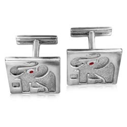 18kt White Gold Elephant Cuff Links