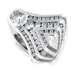 Beautifully Designed 14k  Round Brilliant Diamond White Gold Ring