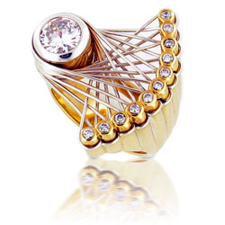 18k Yellow Gold Fancy Diamond Dress Ring