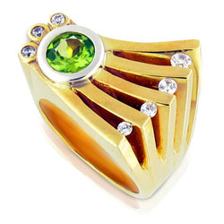 Green Peridot & Diamond Ring in Conventional 14kt Yellow Gold