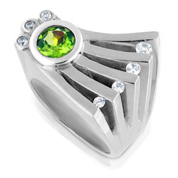 Futuristic 14kt White Gold Ring with Luminous Green Peridot & Diamonds