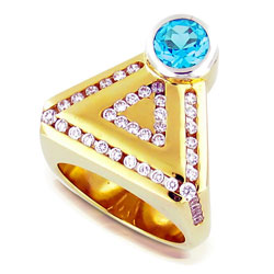 Innovative 18 ct Yellow Gold Topaz & Diamond Ring
