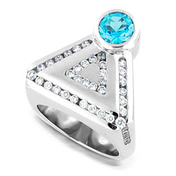 Ultra Modern Platinum Topaz & Diamond Ring