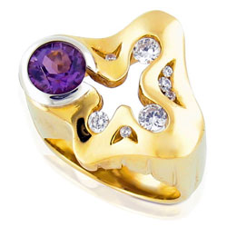 Extreme 14 ct Yellow Gold Amethyst & Diamond Ring