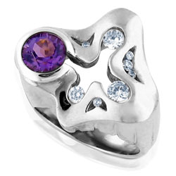 18 ct White Gold Unequal Amethyst & Diamond Ring