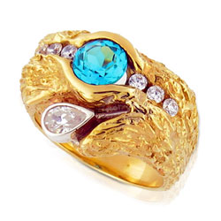 Intense 18kt Yellow Gold Brilliant cut Topaz & Diamond with Pear Shaped Dia