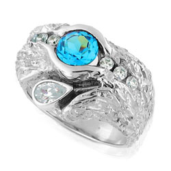 Beautifully Crafted 14k White Gold Ring set with Topaz and Diamonds