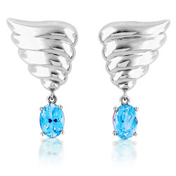 14k White Gold Vibrant Sky Blue Oval Topaz Earrings