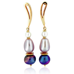 Blue Freshwater & White Cultured Pearl Earrings in 14t Yellow Gold
