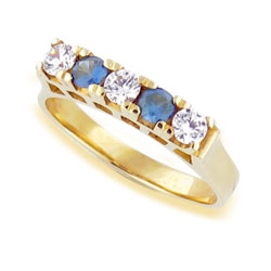 Diamond Eternity 18k Yellow Gold Ring and Gorgeous Sapphires