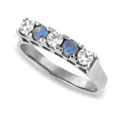 Classic Platinum Sapphires and Diamond Eternity Ring