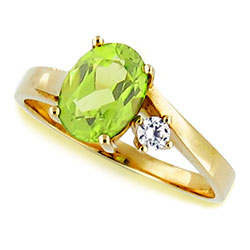 14k Y-White Gold Beautiful Oval Peridot and Diamond Ring