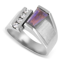 18k White Gold Stunning Baguette Amethyst and Diamond Ring