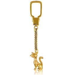 14K Yellow Gold Cat Key Ring