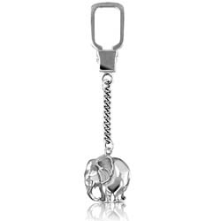 14kt White Gold Elephant Key Ring