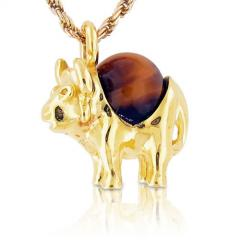 18k Yellow Gold Rhodonite Ball Unique Buffalo Pendant