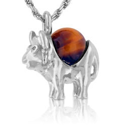 18k White Gold Rhodonite Ball Unique Buffalo Pendant