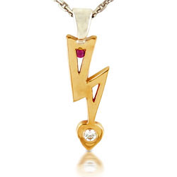 14k Yellow Gold Striking Round Ruby and Diamond Pendant