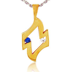 14kt Yellow Gold Beautiful Round Sapphire and Diamond Pendant