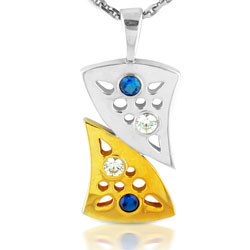 18kt Yellow & White Twin Tone Gold Pendant with Sapphires & Diamonds