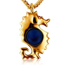 14K Yellow Gold 10mm Blue Round Agate Ball Gemstone Pendant