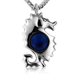 14K White Gold 10mm Blue Round Agate Ball Gemstone Pendant